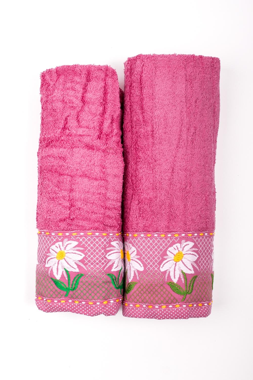 Комплект махровых полотенецПолотенца<br>Комплект махровых полотенец В комплект входят 2 полотенца размерами 50*90 и 70*140 см.  Цвет: розовый<br><br>Отделка края: Отделка строчкой<br>По материалу: Махровые,Хлопковые<br>По назначению: Декоротивные,Практические<br>По рисунку: Однотонные<br>По элементам: С отделкой<br>Размер : UNI<br>Материал: Махровое полотно<br>Количество в наличии: 1