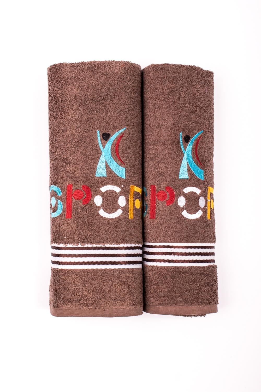 Комплект махровых полотенецПолотенца<br>Комплект махровых полотенец В комплект входят 2 полотенца размерами 50*90 и 70*140 см.  Цвет: коричневый<br><br>Отделка края: Отделка строчкой<br>По материалу: Махровые,Хлопок<br>По рисунку: Однотонные<br>Размер : UNI<br>Материал: Махровое полотно<br>Количество в наличии: 3