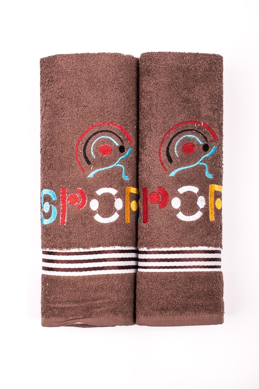 Комплект махровых полотенецПолотенца<br>Комплект махровых полотенец В комплект входят 2 полотенца размерами 50*90 и 70*140 см.  Цвет: коричневый<br><br>Отделка края: Отделка строчкой<br>По материалу: Махровые,Хлопок<br>По рисунку: Однотонные<br>Размер : UNI<br>Материал: Махровое полотно<br>Количество в наличии: 2