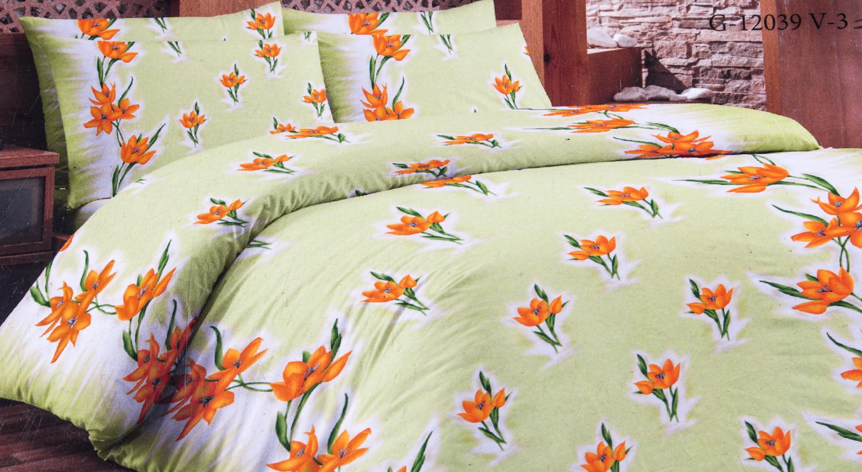 Комплект постельного бельяПостельное белье<br>Кретон - хлопчатобумажная ткань полотняного переплетения из предварительно окрашенной пряжи.  Цвет: салатовый, желтый, белый, оранжевый  Раскладка ткани на изделии может отличаться от картинки  Комплект полутораспального гарнитура: Пододеяльник 150х215 - 1шт. Простыня 150х215 - 1шт. Наволочка 70х70 - 2шт.  Комплект двуспального гарнитура: Пододеяльник 180х215 - 1шт. Простыня 180х215 - 1шт. Наволочка 70х70 - 2 шт.  Комплект двуспального гарнитура с европростыней: Пододеяльник 180х215 - 1шт. Простыня 220х240 - 1шт. Наволочка 70х70 - 2 шт.  Комплект Евро гарнитура:  Пододеяльник 220х240 - 1шт.  Простыня 220х240 - 1шт.  Наволочка 70х70 - 2 шт.  Комплект Дуэт гарнитура:  Пододеяльник 150х215 - 2шт.  Простыня 220х240 - 1шт.  Наволочка 70х70 - 2 шт.<br><br>По комплектации: Наволочка 2 шт.,Пододеяльник 1 шт.,Простыня 1 шт.<br>По материалу: Кретон,Хлопок<br>По размеру: Двуспальные<br>По рисунку: Растительные мотивы,С принтом,Цветные,Цветочные<br>По способу закрывания: В нахлест<br>Размер : 2,0<br>Материал: Кретон<br>Количество в наличии: 2