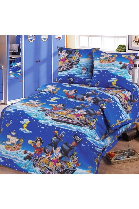 Комплект постельного бельяДля детей<br>Коллекция постельного белья «Для детей» изготовлена из 100% хлопка. Детское постельное белье - это мир сказки и детских любимых героев, переместившихся из мультфильмов на детскую кровать. Именно у нас, Ваш ребенок найдет самый желанный для себя комплект, который идеально впишется в интерьер детской комнаты. Все комплекты обладают повышенной износостойкостью. Даже после многих-многих стирок продолжают радовать своими яркими цветами.   Обращаем Ваше внимание на то, что расположение рисунка на комплекте не всегда полностью совпадает с рисунком на картинке Данное несоответствие не расценивается как брак.  Цвет: синий, мультицвет  Комплект полутораспального гарнитура: Пододеяльник 147х210 - 1шт. Простынь 150х210 - 1шт. Наволочка 70х70 - 2шт.  Комплект детский: Пододеяльник 110х150 – 1шт. Простынь 110х150 – 1шт. Наволочка 60х60 – 1шт.<br><br>По комплектации: Наволочка 2 шт.,Пододеяльник 1 шт.,Простынь 1 шт.<br>По материалу: Бязь,Хлопок<br>По размеру: Полутороспальные<br>По рисунку: С принтом,Цветные<br>По способу закрывания: В нахлест<br>Размер : 1,5<br>Материал: Бязь набивная б/шва 100% хлопок<br>Количество в наличии: 2