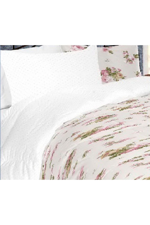 Комплект постельного бельяПостельное белье<br>Постельное белье изготовлено из перкали.  Плотность постельного белья - 160 гр/м2  Цвет: белый, розовый, зеленый  Перкаль - это плотная хлопчатобумажная ткань, очень износостойкая и крепкая, хорошо хранит тепло, не выпуская его наружу, не пропускает воздух. Поэтому спать в такой постели мягко, тепло и уютно. Перкалевое белье не образует катышков, яркие цвета сохраняются на долго, хорошо впитывает влагу.  Комплект полутораспального гарнитура: Пододеяльник 145х215 - 1шт. Простынь 150х215 - 1шт. Наволочка 50х70 - 2шт.  Комплект двуспального гарнитура: Пододеяльник 175х215 - 1шт. Простынь 200х220 - 1шт. Наволочка 50х70 - 2 шт.  Комплект двуспального гарнитура с Евро простыней: Пододеяльник 175х215 - 1шт. Простынь 220х240 - 1шт. Наволочка 50х70 - 2 шт.  Комплект Евро гарнитура:  Пододеяльник 200х215 - 1шт.  Простынь 220х240 - 1шт.  Наволочка 50х70 - 2 шт.  Комплект Дуэт гарнитура:  Пододеяльник 145х215 - 2 шт. Простынь 220х240 - 1шт.  Наволочка 70х70 - 2 шт.<br><br>По комплектации: Наволочка 2 шт.,Пододеяльник 1 шт.,Простыня 1 шт.<br>По материалу: Перкаль,Хлопок<br>По размеру: Полутороспальные<br>По рисунку: Растительные мотивы,С принтом,Цветные,Цветочные<br>По способу закрывания: В нахлест<br>Размер : 1,5<br>Материал: Перкаль б/шва 100% хлопок<br>Количество в наличии: 1