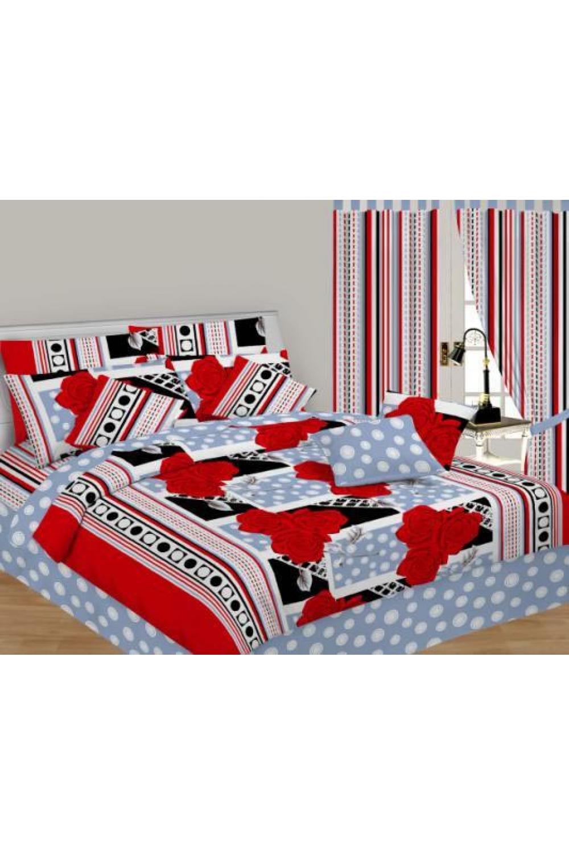 Комплект постельного бельяПостельное белье<br>Постельное белье из ткани нового поколения - поликоттон.  Плотность постельного белья - 120 гр/м2  Цвет: серый, красный, белый, черный  Преимущества комплекта из поликоттона - увеличенный срок службы, низкая усадка ткани после стирки, высокие гигиенические свойства, низкая сминаемость изделий, отсутствие миграции красителей.  Комплект 1,5 сп. гарнитура:  Пододеяльник 145х220 – 1шт.  Простынь 150х220 - 1шт.  Наволочка 70х70 - 1шт.   Комплект двуспального гарнитура: Пододеяльник 175*220 - 1шт. Простынь 200х220 - 1шт. Наволочка 70х70 - 1шт.<br><br>По комплектации: Наволочка 2 шт.,Пододеяльник 1 шт.,Простыня 1 шт.<br>По материалу: Поликоттон,Хлопок<br>По размеру: Полутороспальные<br>По рисунку: В горошек,С принтом,Цветные<br>По способу закрывания: В нахлест<br>Размер : 1,5<br>Материал: Поликоттон<br>Количество в наличии: 1
