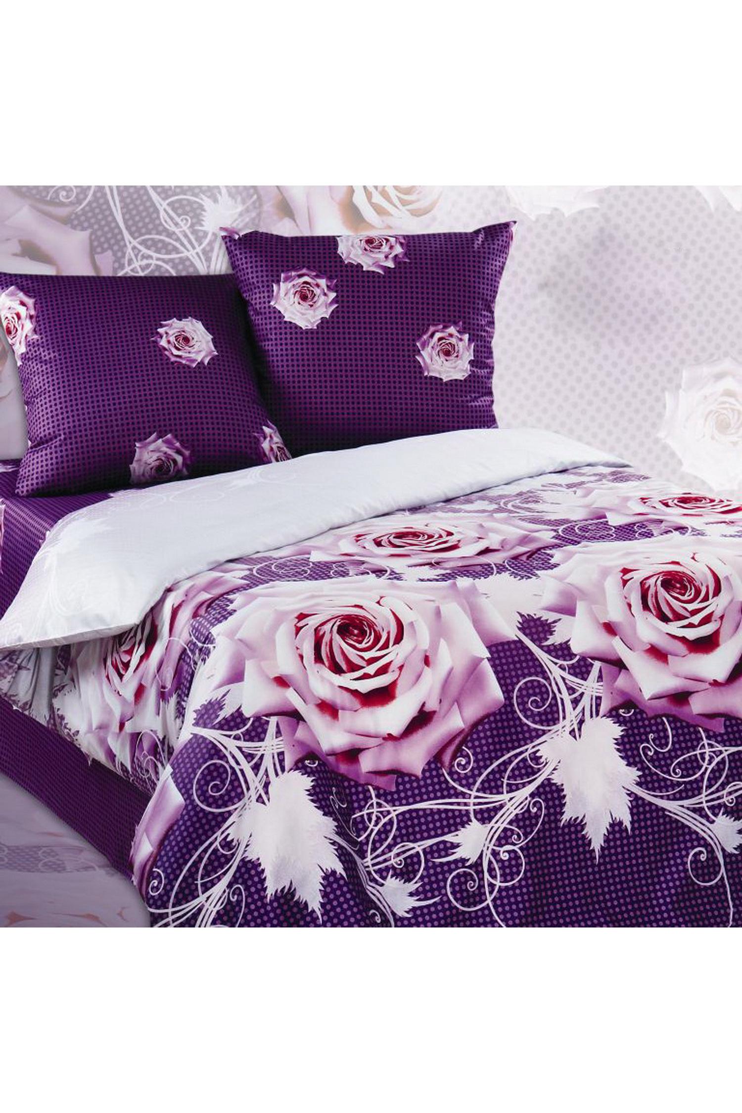 Комплект постельного бельяПостельное белье<br>Бязь - это плотная хлопчатобумажная ткань, гигиеничная, обладающая низкой сменяемостью и легко стирающаяся. Изготавливается из 100% хлопка с использованием устойчивых безопасных красителей для нанесения рисунка на долгие годы, сохраняя яркость цвета.  В изделии использованы цвета: фиолетовый, белый и др.  Обращаем Ваше внимание на то, что расположение рисунка на комплекте не всегда полностью совпадает с рисунком на картинке Данное несоответствие не расценивается как брак или некондиция.  Комплект полутораспального гарнитура: Пододеяльник 150х215 - 1шт. Простынь 150х220 - 1шт. Наволочка 70х70 - 2шт.  Комплект двуспального гарнитура: Пододеяльник 180х220 - 1шт. Простынь 180х220 - 1шт. Наволочка 70х70 - 2 шт.  Комплект двуспального гарнитура с Евро простыней: Пододеяльник 180х220 - 1шт. Простынь 220х240 - 1шт. Наволочка 70х70 - 2 шт.  Комплект Евро гарнитура:  Пододеяльник 220х240 - 1шт.  Простынь 220х240 - 1шт.  Наволочка 70х70 - 2 шт.  Комплект Дуэт гарнитура:  Пододеяльник 150х220 - 2 шт. Простынь 220х240 - 1шт.  Наволочка 70х70 - 2 шт.<br><br>По комплектации: Наволочка 2 шт.,Пододеяльник 1 шт.,Простыня 1 шт.<br>По материалу: Бязь,Хлопок<br>По размеру: Двуспальные<br>По рисунку: Растительные мотивы,С принтом,Цветные,Цветочные<br>По способу закрывания: В нахлест<br>Размер : 2,0<br>Материал: Бязь набивная б/шва 100% хлопок<br>Количество в наличии: 1