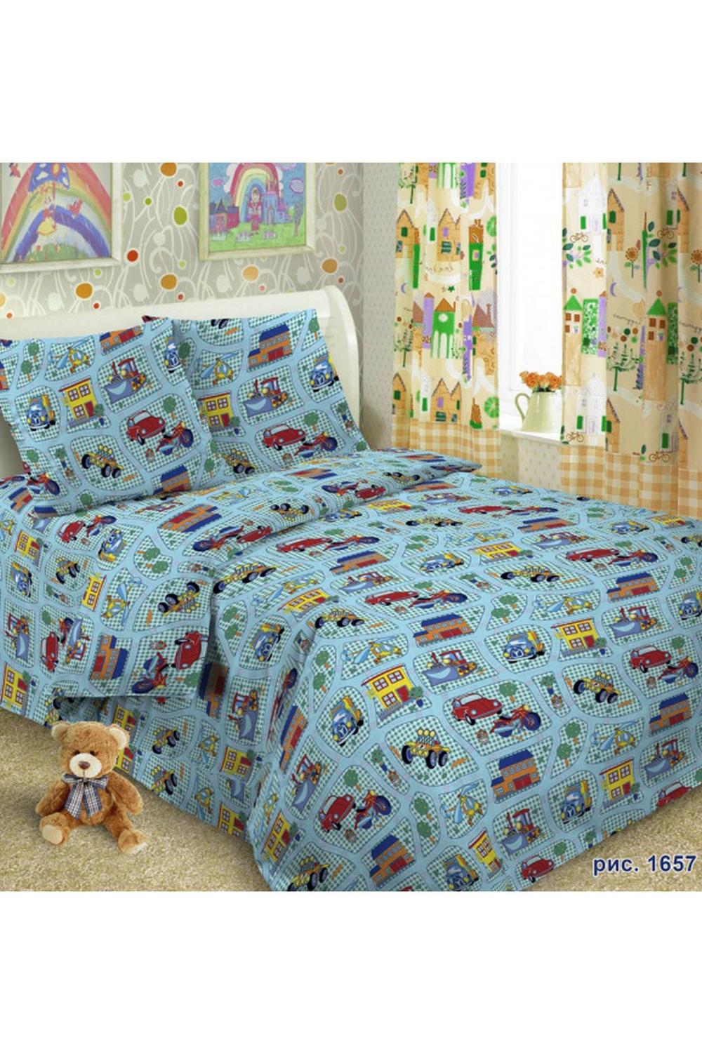 Комплект постельного бельяДля детей<br>Коллекция постельного белья Для детей изготовлена из 100% хлопка. Детское постельное белье - это мир сказки и детских любимых героев, переместившихся из мультфильмов на детскую кровать. Именно у нас, Ваш ребенок найдет самый желанный для себя комплект, который идеально впишется в интерьер детской комнаты. Все комплекты обладают повышенной износостойкостью. Даже после многих-многих стирок продолжают радовать своими яркими цветами.   Обращаем Ваше внимание на то, что расположение рисунка на комплекте не всегда полностью совпадает с рисунком на картинке Данное несоответствие не расценивается как брак или некондиция.  В изделии использованы цвета: голубой, желтый и др.  Комплект полутораспального гарнитура: Пододеяльник 150х215 - 1шт. Простынь 150х215 - 1шт. Наволочка 70х70 - 1шт.  Комплект гарнитура Ясли: Пододеяльник: 147*110 см 1 штука Простыня: 150*100 см 1 штука Наволочка: 60*60 см 1 штука<br><br>По комплектации: Наволочка 1 шт.,Пододеяльник 1 шт.,Простынь 1 шт.<br>По материалу: Поплин,Хлопок<br>По размеру: Полутороспальные<br>По рисунку: С принтом,Цветные<br>По способу закрывания: В нахлест<br>Размер : 1,5<br>Материал: Поплин б/шва 100% хлопок<br>Количество в наличии: 1