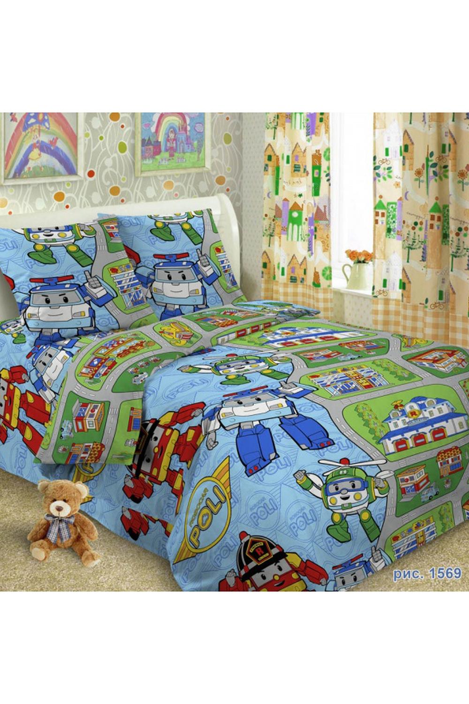 Комплект постельного бельяДля детей<br>Коллекция постельного белья Для детей изготовлена из 100% хлопка. Детское постельное белье - это мир сказки и детских любимых героев, переместившихся из мультфильмов на детскую кровать. Именно у нас, Ваш ребенок найдет самый желанный для себя комплект, который идеально впишется в интерьер детской комнаты. Все комплекты обладают повышенной износостойкостью. Даже после многих-многих стирок продолжают радовать своими яркими цветами.   Обращаем Ваше внимание на то, что расположение рисунка на комплекте не всегда полностью совпадает с рисунком на картинке Данное несоответствие не расценивается как брак или некондиция.  В изделии использованы цвета: голубой, зеленый и др.  Комплект полутораспального гарнитура: Пододеяльник 150х215 - 1шт. Простынь 150х215 - 1шт. Наволочка 70х70 - 1шт.  Комплект гарнитура Ясли: Пододеяльник: 147*110 см 1 штука Простыня: 150*100 см 1 штука Наволочка: 60*60 см 1 штука<br><br>По комплектации: Наволочка 1 шт.,Пододеяльник 1 шт.,Простынь 1 шт.<br>По материалу: Поплин,Хлопок<br>По размеру: Полутороспальные<br>По рисунку: С принтом,Цветные<br>По способу закрывания: В нахлест<br>Размер : 1,5<br>Материал: Поплин б/шва 100% хлопок<br>Количество в наличии: 1