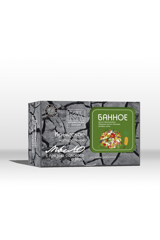 Мыло С грязью Сакского озера БанноеТвердое мыло<br>Мыло на основе лечебной грязи Сакского озера благодаря эффекту глубокого очищения открывает поры, выводит токсины, способствуя свободному дыханию кожи. Экстракты и эфирные масла, входящие в состав мыла, смягчают и увлажняют Вашу кожу во время банных процедур.  Оригинальный рецепт натурального мыла на основе лечебной грязи Сакского озера, содержит уникальный комплекс природных веществ, дополняющих целебное действие сакской грязи. Натуральные масла, лекарственные травы, растительные экстракты, минеральные вещества, эфирные композиции тщательно подобраны для сбалансированного ухода за разными типами кожи.  Основной активный компонент натурального мыла - лечебная грязь Сакского озера. Это уникальное природное вещество, подаренное крымской природой, давно признано эффективным косметическим средством. Биологически активные вещества, содержащиеся в сакской грязи, глубоко проникают в кожу, насыщая ее необходимыми микро- и макроэлементами. Лечебная грязь улучшает обмен веществ в клетках, стимулирует тканевое дыхание, повышает иммунитет и действует как мощный антиоксидант, предупреждая старение. Сакская грязь делает кожу нежной и бархатистой, очищает и сужает поры, абсорбирует излишки кожного жира, удаляет омертвевшие клетки, снижает воспалительные процессы, способствует рассасыванию рубцов и шрамов, разглаживает морщины.  Грязь Сакского озера дарит коже упругость, эластичность, здоровье и красоту   СОСТАВ: омыленные растительные масла (кокосовое, оливковое, пальмовое, рициновое); вода подготовленная, грязь Сакского озера, отвар ромашки, масло облепиховое, эфирные масла: чабреца, лаванды, шалфея, мяты, экстракты алоэ и зеленого чая.  Масса 82г (+/-5г)  Срок годности 24мес.  Дата изготовления  16.10.2015г.  Противопоказания: индивидуальная непереносимость входящих в состав компонентов.  Меры предосторожности: при попадании в глаза промыть водой.  Условия хранения: хранить при температуре не ниже -5 С и относительной влажности 