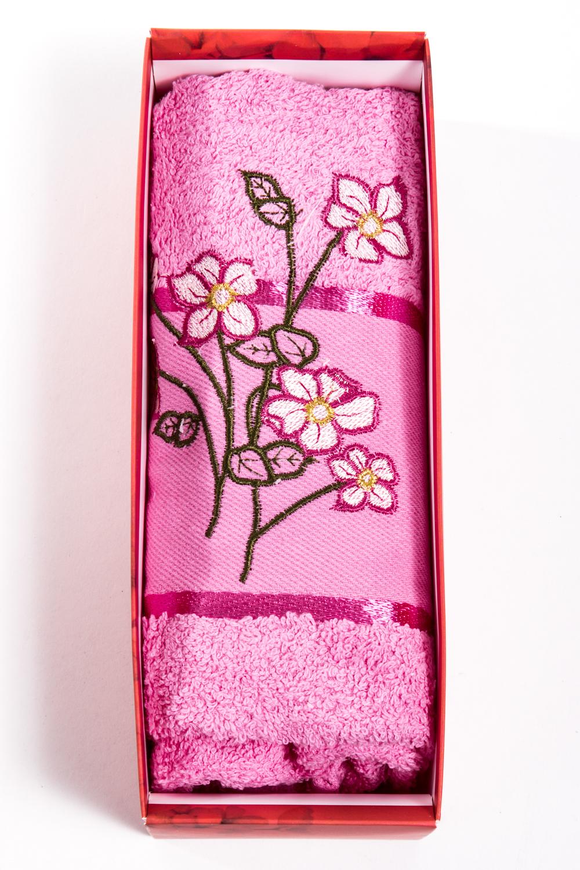 Махровое полотенцеПолотенца<br>Мягкое махровое полотенце с вышивкой  Цвет: розовый<br><br>Отделка края: Отделка строчкой<br>По материалу: Махровые,Хлопковые<br>По рисунку: Растительные мотивы,С принтом (печатью)<br>Размер : 50*90<br>Материал: Махровое полотно<br>Количество в наличии: 2
