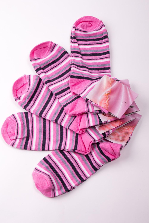 НоскиНоски<br>Хлопковые носки из мягкого трикотажа. В наборе 5 пар.  В изделии использованы цвета: розовый и др.  Цена на сайте указана за 1 упаковку.<br><br>По материалу: Трикотаж<br>По рисунку: В полоску,Цветные<br>По сезону: Весна,Зима,Лето,Осень,Всесезон<br>По стилю: Повседневный стиль<br>Размер : 23-25<br>Материал: Трикотаж<br>Количество в наличии: 1