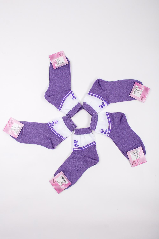 НоскиНоски<br>Хлопковые носки из мягкого трикотажа. В наборе 5 пар.  В изделии использованы цвета: сиреневый, белый и др.  Цена на сайте указана за 1 упаковку.<br><br>По материалу: Трикотаж,Хлопок<br>По рисунку: С принтом,Цветные<br>По стилю: Повседневный стиль<br>По сезону: Осень,Весна<br>Размер : 25<br>Материал: Трикотаж<br>Количество в наличии: 1