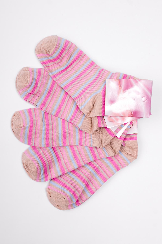 НоскиНоски<br>Хлопковые носки из мягкого трикотажа. В наборе 5 пар.  В изделии использованы цвета: бежевый, голубой, розовый и др.  Цена на сайте указана за 1 упаковку.<br><br>По длине: Миди<br>По материалу: Трикотаж,Хлопок<br>По рисунку: В полоску,С принтом,Цветные<br>По сезону: Весна,Зима,Лето,Осень,Всесезон<br>По стилю: Повседневный стиль<br>Размер : 23-25<br>Материал: Трикотаж<br>Количество в наличии: 1