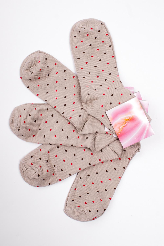 НоскиНоски<br>Хлопковые носки из мягкого трикотажа. В наборе 5 пар.  В изделии использованы цвета: бежевый и др.  Цена на сайте указана за 1 упаковку.<br><br>По длине: Миди<br>По материалу: Трикотаж,Хлопок<br>По рисунку: В горошек,С принтом,Цветные<br>По сезону: Весна,Зима,Лето,Осень,Всесезон<br>По стилю: Повседневный стиль<br>Размер : 23-25<br>Материал: Трикотаж<br>Количество в наличии: 2
