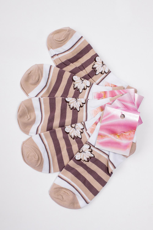 НоскиНоски<br>Хлопковые носки из мягкого трикотажа. В наборе 5 пар.  В изделии использованы цвета: бежевый, коричневый, белый  Цена на сайте указана за 1 упаковку.<br><br>По длине: Миди<br>По материалу: Трикотаж,Хлопок<br>По рисунку: В полоску,С принтом,Цветные<br>По сезону: Весна,Зима,Лето,Осень,Всесезон<br>По стилю: Повседневный стиль<br>Размер : 23-25<br>Материал: Трикотаж<br>Количество в наличии: 2