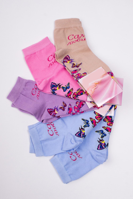 НоскиНоски<br>Хлопковые носки из мягкого трикотажа. В наборе 5 пар.  В изделии использованы цвета: голубой, розовый, сиреневый, бежевый и др.  Цена на сайте указана за 1 упаковку.<br><br>По длине: Миди<br>По материалу: Трикотаж,Хлопок<br>По рисунку: Бабочки,С принтом,Цветные<br>По сезону: Весна,Зима,Лето,Осень,Всесезон<br>По стилю: Повседневный стиль<br>Размер : 23-25<br>Материал: Трикотаж<br>Количество в наличии: 8