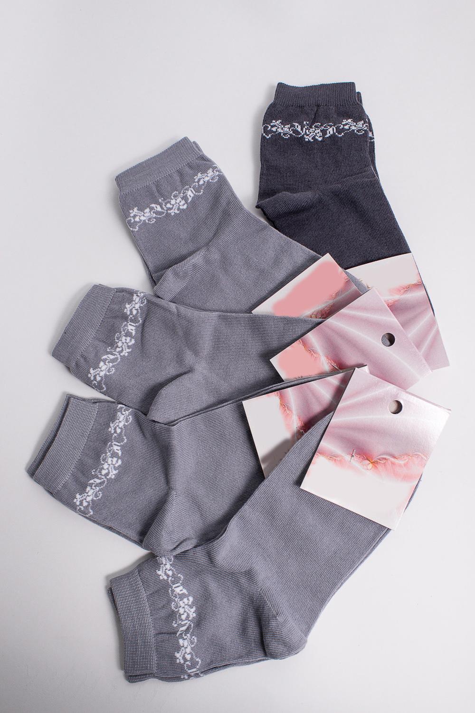 НоскиНоски<br>Хлопковые носки из мягкого трикотажа. В наборе 5 пар.  В изделии использованы цвета: серый, белый  Цена на сайте указана за 1 упаковку.<br><br>Материал: Трикотаж,Хлопок<br>Рисунок: С принтом,Цветные<br>Сезон: Весна,Осень<br>Стиль: Повседневный стиль<br>Размер : 21-23<br>Материал: Трикотаж<br>Количество в наличии: 1