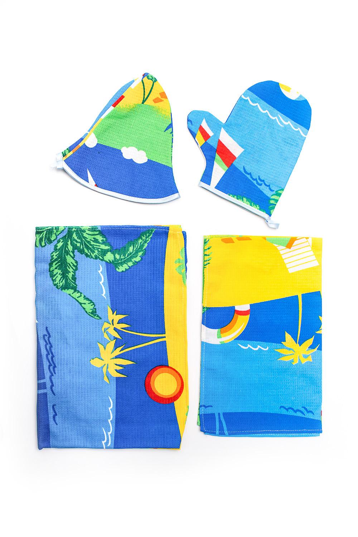 Набор банныйБанные принадлежности<br>Набор для бани и сауны хлопковый (полотенце на липучке, шапка, варежка, салфетка)  В изделии использованы цвета: синий, голубой и др.<br><br>По сезону: Всесезон<br>Размер : UNI<br>Материал: Хлопок<br>Количество в наличии: 2