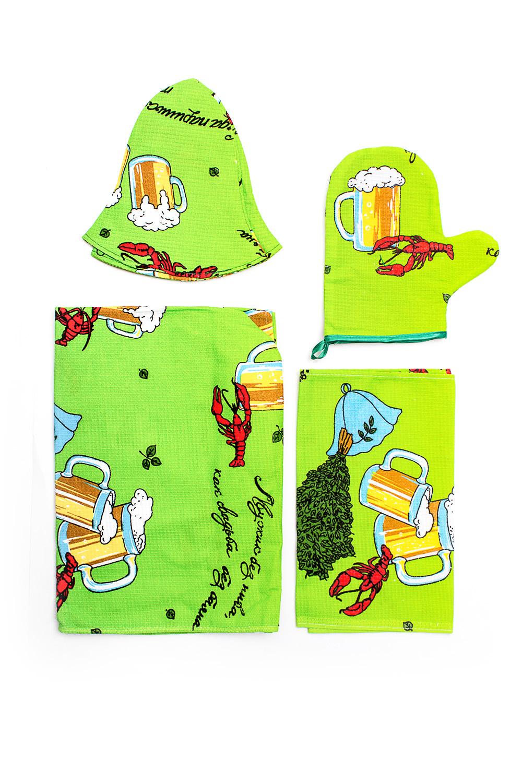 Набор банныйБанные принадлежности<br>Набор для бани и сауны хлопковый (полотенце на липучке, шапка, варежка, салфетка)  В изделии использованы цвета: зеленый и др.<br><br>По сезону: Всесезон<br>Размер : UNI<br>Материал: Хлопок<br>Количество в наличии: 3