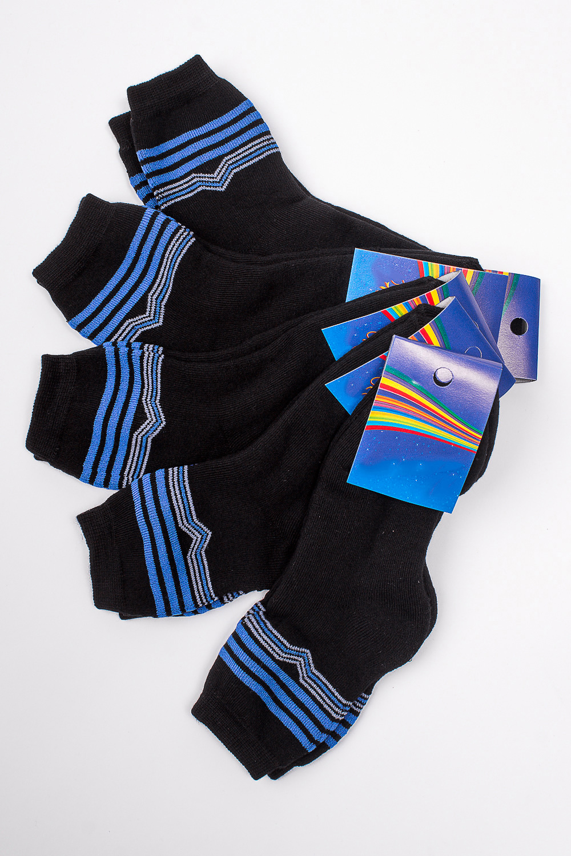 НоскиЧулочно-носочные изделия<br>Махровые носочки для ребенка. Упаковка из 5 пар.  В изделии использованы цвета: черный, синий.  Цена на сайте указана за 1 упаковку.<br><br>По материалу: Махровые<br>По образу: Жизнь<br>По рисунку: В полоску,С принтом (печатью),Цветные<br>По сезону: Зима,Осень,Весна<br>По стилю: Повседневные,Теплые<br>По элементам: На резинке<br>Размер : 20-22<br>Материал: Махровое полотно<br>Количество в наличии: 1