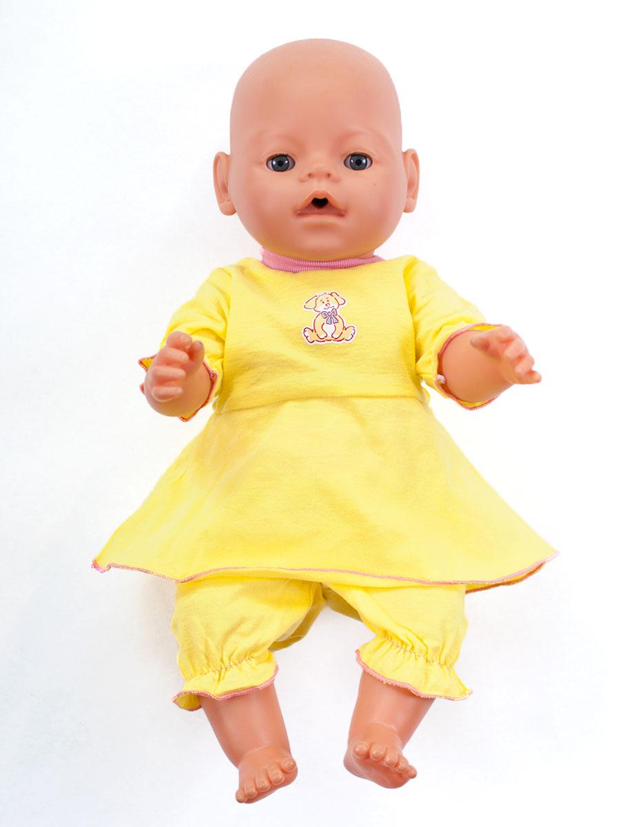 Одежда для куклыОбразные игрушки<br>В набор входит платье и бриджи.  Платье застегивается  на спинке на застежки-липучки. Комфортную посадку бриджам обеспечивает резинка в поясе. Одежда подходит для кукол и пупсов с ростом 38-45 см.  Цвет: желтый Аппликация на груди в ассортименте<br><br>По сезону: Всесезон<br>Размер: 1<br>Материал: 100% хлопок<br>Количество в наличии: 1