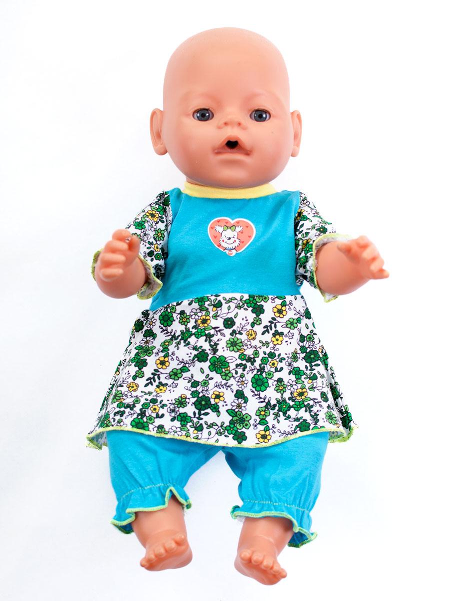 Одежда для куклыОбразные игрушки<br>В набор входит платье и бриджи.  Платье застегивается  на спинке на застежки-липучки. Комфортную посадку бриджам обеспечивает резинка в поясе. Одежда подходит для кукол и пупсов с ростом 38-45 см.  Цвет: белый, зеленый, голубой, желтый Штанишки из ткани в цветочек, окантовка на вороте кофточки белого цвета, аппликация на груди в ассортименте<br><br>По сезону: Всесезон<br>Размер : UNI<br>Материал: Хлопок<br>Количество в наличии: 2