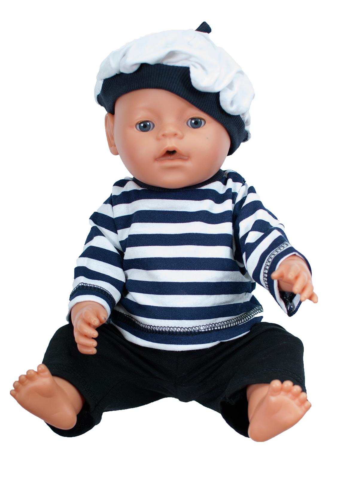 Одежда для куклыОбразные игрушки<br>В набор quot;Морячокquot; входит тельняшка, брюки и кепка. Тельняшка застегивается  на спинке на застежки-липучки. Комфортную посадку брюкам обеспечивает резинка в поясе. Одежда подходит для кукол и пупсов с ростом 38-45 см.  Цвет: черный, синий, белый Штанишки синего цвета, окантовка на шапочке может быть серой или ярко-синей<br><br>По сезону: Всесезон<br>Размер : UNI<br>Материал: Хлопок<br>Количество в наличии: 3