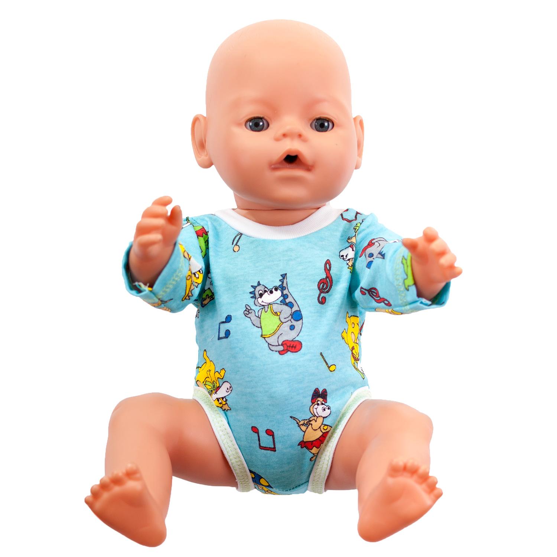 Одежда для куклыОбразные игрушки<br>В набор входит боди. Одежда подходит для кукол и пупсов с ростом 38-45 см.  Цвет: голубой, мультицвет Окантовка голубого цвета<br><br>По сезону: Всесезон<br>Размер : UNI<br>Материал: Хлопок<br>Количество в наличии: 4