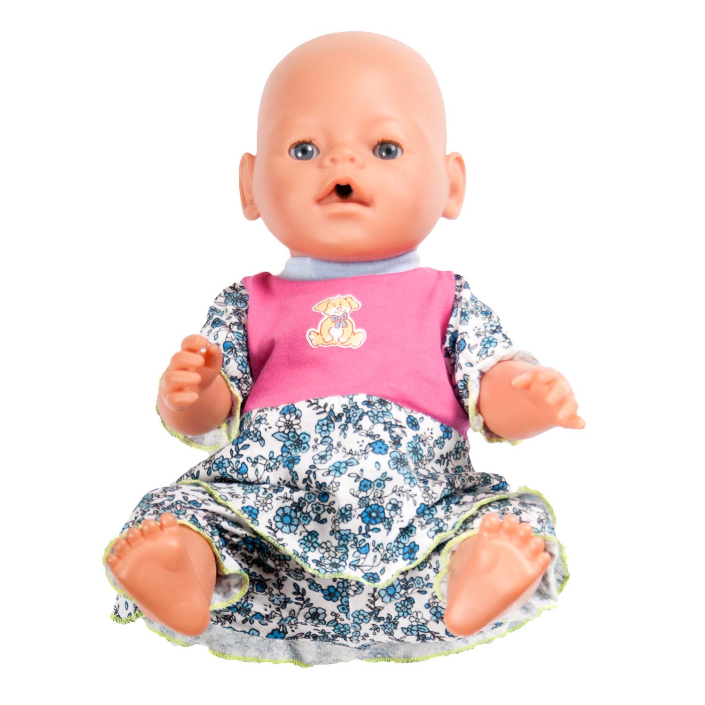 Одежда для куклыОбразные игрушки<br>В набор входит платье и бриджи.  Платье застегивается  на спинке на застежки-липучки. Комфортную посадку бриджам обеспечивает резинка в поясе. Одежда подходит для кукол и пупсов с ростом 38-45 см.  Цвет: белый, голубой, розовый Цветочки зеленого цвета, аппликация на груди в ассортименте<br><br>По сезону: Всесезон<br>Размер : UNI<br>Материал: Хлопок<br>Количество в наличии: 3