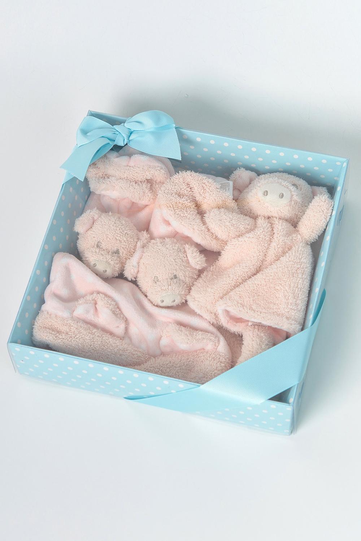 Подарочный наборНаборы<br>Мягкий махровый набор состоит из пинеток, шапочки и игрушки.  Цвет: светло-коралловый<br><br>По сезону: Всесезон<br>Размер : UNI<br>Материал: Махровое полотно<br>Количество в наличии: 1