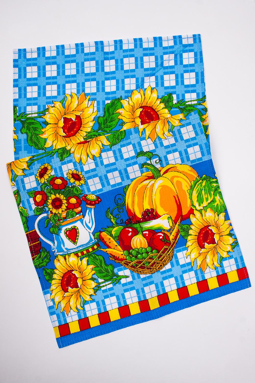 ПолотенцеПолотенца<br>Яркое хлопковое полотенце.  В изделии использованы цвета: голубой, оранжевый и др.<br><br>По материалу: Вафельные,Хлопковые<br>По рисунку: Растительные мотивы,С набивным рисунком,С принтом (печатью),Цветные,Цветочные<br>Размер : 38*72<br>Материал: Хлопок<br>Количество в наличии: 13