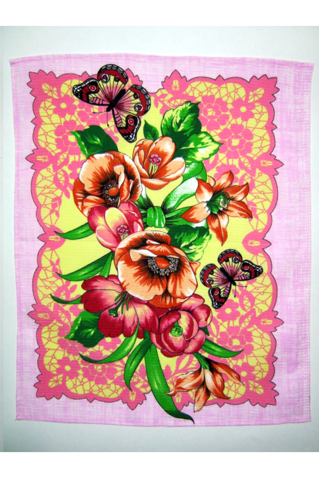 ПолотенцеПолотенца<br>Яркое хлопковое полотенце.  В изделии использованы цвета: розовый и др.<br><br>По материалу: Хлопковые<br>По рисунку: Растительные мотивы,С набивным рисунком,С принтом (печатью),Цветные,Цветочные<br>Размер : 50*60<br>Материал: Хлопок<br>Количество в наличии: 8