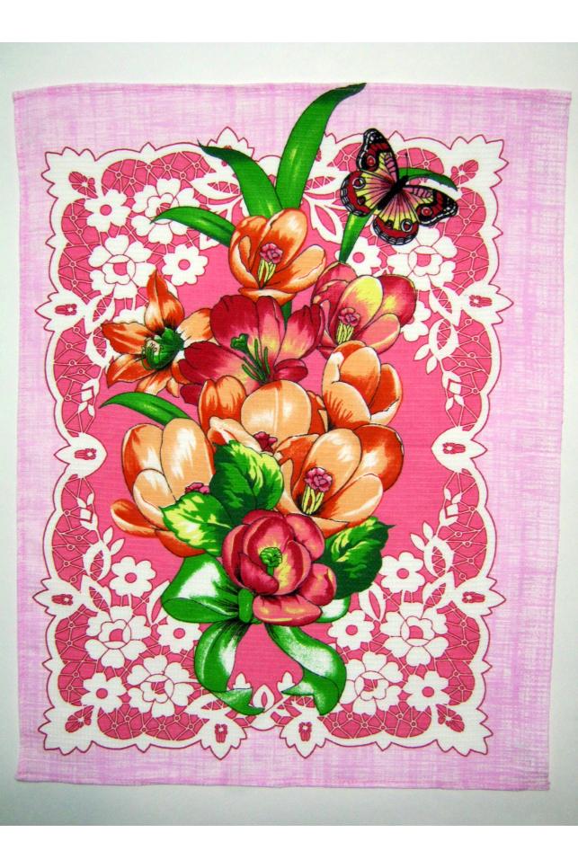 ПолотенцеПолотенца<br>Яркое хлопковое полотенце.  В изделии использованы цвета: розовый и др.<br><br>По рисунку: Растительные мотивы,Цветные,Цветочные,С принтом<br>По материалу: Хлопок<br>Размер : 50*60<br>Материал: Хлопок<br>Количество в наличии: 9