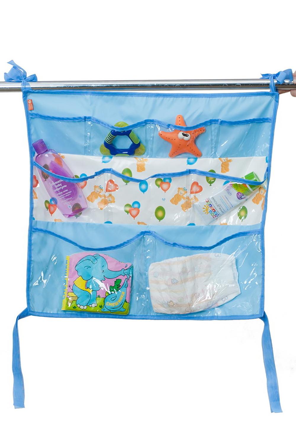 Подвесные карманыБортики и матрасы<br>Подвесной коврик с кармашками поможет держать все необходимые вещи под рукой и в полном порядке. Наш коврик с кармашками можно использовать не только на кроватку, но и в ванной.  Преимущества: - детские аксессуары под рукой и в полном порядке - удобно хранить и легко найти нужную вещь - можно использовать не только на кроватку, но и в ванной - гигиеничен и прост в уходе - оптимальные размеры и практичные крепления  В изделии использованы цвета: голубой и др.<br><br>По сезону: Всесезон<br>Размер : UNI<br>Материал: ПВХ<br>Количество в наличии: 1