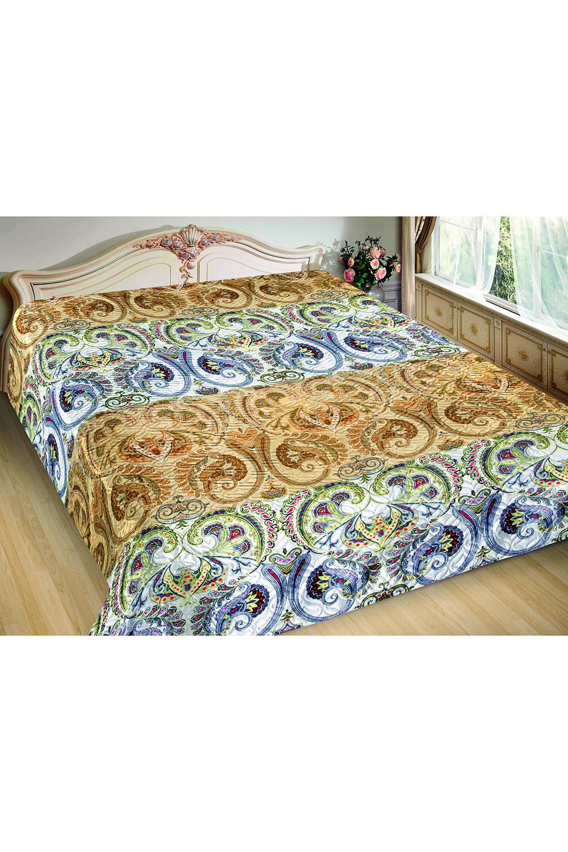 ПокрывалоПокрывала<br>Покрывало на кровать – эта деталь интерьера, которая делает кровать нарядной в течение дня и хранит её для ночи. Оно защищает постельное бельё от износа и загрязнения, сохраняет его свежесть и позволяет Вам каждую ночь ложиться в чистую кровать. Современная мода отводит покрывалам центральное место в спальне и гостиной и советует использовать его не только для того, чтобы защитить мебельную обивку от пыли и пятен. Оригинальная и стильная постельная накидка может не только спрятать белье от посторонних глаз, но и стать элементом декора помещения.  В изделии использованы цвета: бежевый, белый и др.<br><br>По материалу: Шелк<br>По размеру: Полутороспальные<br>По рисунку: Цветные,Этнические,С принтом<br>По элементам: С термостежкой<br>Размер : 150*220<br>Материал: Искусственный шелк<br>Количество в наличии: 8