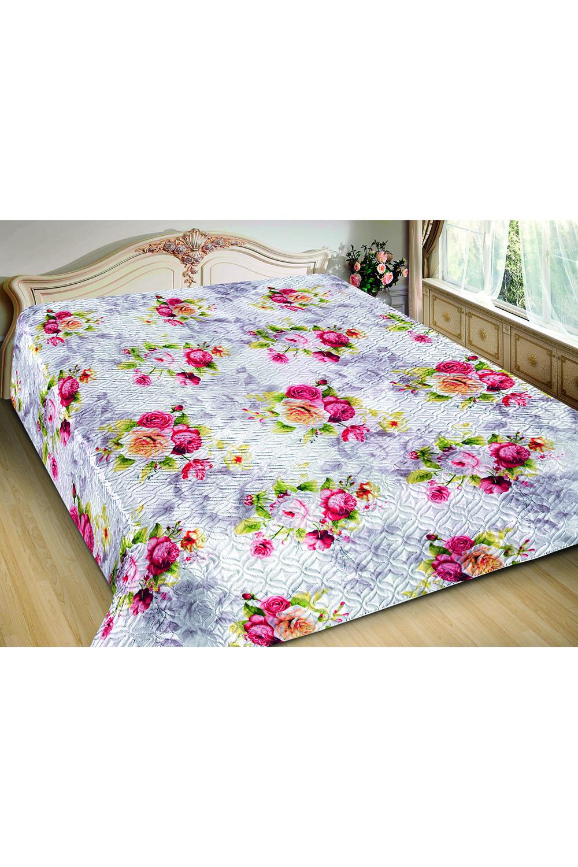 ПокрывалоПокрывала<br>Покрывало на кровать – эта деталь интерьера, которая делает кровать нарядной в течение дня и хранит её для ночи. Оно защищает постельное бельё от износа и загрязнения, сохраняет его свежесть и позволяет Вам каждую ночь ложиться в чистую кровать. Современная мода отводит покрывалам центральное место в спальне и гостиной и советует использовать его не только для того, чтобы защитить мебельную обивку от пыли и пятен. Оригинальная и стильная постельная накидка может не только спрятать белье от посторонних глаз, но и стать элементом декора помещения.  В изделии использованы цвета: белый, розовый и др.<br><br>По материалу: Шелк<br>По размеру: Евро<br>По рисунку: 3D,Растительные мотивы,Цветные,Цветочные,С принтом<br>По элементам: С термостежкой<br>Размер : 200*220<br>Материал: Искусственный шелк<br>Количество в наличии: 3