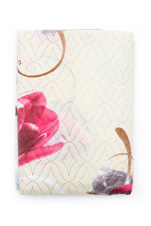 ПокрывалоПокрывала<br>Покрывало на кровать – эта деталь интерьера, которая делает кровать нарядной в течение дня и хранит её для ночи. Оно защищает постельное бельё от износа и загрязнения, сохраняет его свежесть и позволяет Вам каждую ночь ложиться в чистую кровать. Современная мода отводит покрывалам центральное место в спальне и гостиной и советует использовать его не только для того, чтобы защитить мебельную обивку от пыли и пятен. Оригинальная и стильная постельная накидка может не только спрятать белье от посторонних глаз, но и стать элементом декора помещения.  Размер: 150*210 см.  В изделии использованы цвета: молочный, розовый и др.<br><br>Отделка края: Отделка строчкой<br>По материалу: Полиэстер<br>По размеру: Полутороспальные<br>По рисунку: С принтом (печатью),Цветные<br>По элементам: Стеганное<br>По сезону: Всесезон<br>Размер : 1,5,2,0,Euro<br>Материал: Микрофибра<br>Количество в наличии: 12