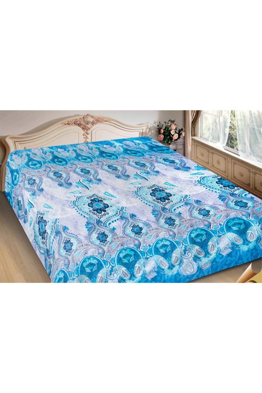 ПокрывалоПокрывала<br>Покрывало на кровать – эта деталь интерьера, которая делает кровать нарядной в течение дня и хранит её для ночи. Оно защищает постельное бельё от износа и загрязнения, сохраняет его свежесть и позволяет Вам каждую ночь ложиться в чистую кровать. Современная мода отводит покрывалам центральное место в спальне и гостиной и советует использовать его не только для того, чтобы защитить мебельную обивку от пыли и пятен. Оригинальная и стильная постельная накидка может не только спрятать белье от посторонних глаз, но и стать элементом декора помещения.  В изделии использованы цвета: голубой, серый и др.<br><br>Отделка края: Отделка строчкой<br>По материалу: Полиэстер,Шелк<br>По размеру: Полутороспальные,Двуспальные,Евро,ЕвроМакси<br>По рисунку: С принтом (печатью),Цветные,Этнические<br>По сезону: Всесезон<br>Размер : 150*220,180*220,200*220,220*240<br>Материал: Искусственный шелк<br>Количество в наличии: 10