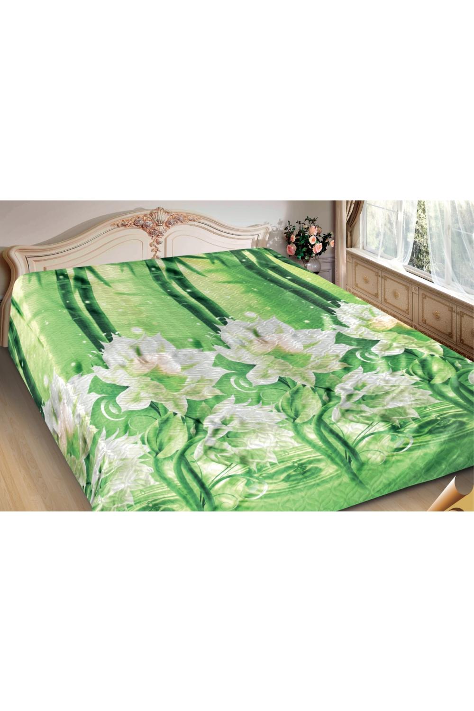 ПокрывалоПокрывала<br>Покрывало на кровать – эта деталь интерьера, которая делает кровать нарядной в течение дня и хранит её для ночи. Оно защищает постельное бельё от износа и загрязнения, сохраняет его свежесть и позволяет Вам каждую ночь ложиться в чистую кровать. Современная мода отводит покрывалам центральное место в спальне и гостиной и советует использовать его не только для того, чтобы защитить мебельную обивку от пыли и пятен. Оригинальная и стильная постельная накидка может не только спрятать белье от посторонних глаз, но и стать элементом декора помещения.  В изделии использованы цвета: зеленый, белый<br><br>Отделка края: Отделка строчкой<br>По материалу: Полиэстер,Шелк<br>По размеру: Полутороспальные,Двуспальные,Евро,ЕвроМакси<br>По рисунку: С принтом (печатью),Цветные,Цветочные<br>По сезону: Всесезон<br>Размер : 150*220,200*220<br>Материал: Искусственный шелк<br>Количество в наличии: 3