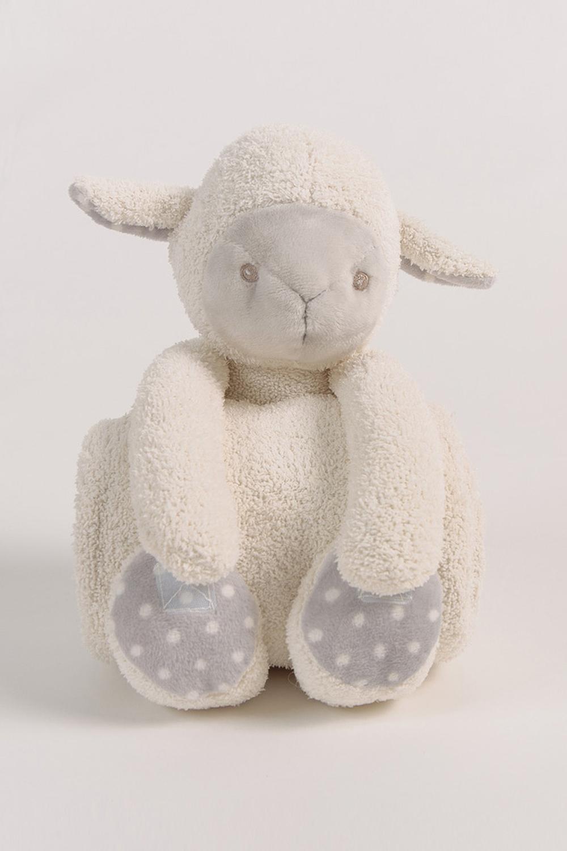 Плед+игрушкаНаборы<br>Очень мягкий и приятный на ощупь плед в оригинальной упаковке (она же игрушка-зверушка). Отличная идея для подарка молодым родителям Плюшевый плед – универсальная вещь, которая при желании может быть одеялом, накидкой и даже полотенцем Тем более, когда речь идёт о таком приятном и нежном материале, как плюш. В комплект с пледом входит игрушка-зверушка. Таким образом, одной покупкой вы можете «убить двух зайцев сразу»: и практичную вещь приобрести, и ребёнка порадовать новой игрушкой.  Цвет: молочный<br><br>По сезону: Всесезон<br>Размер : 70*90<br>Материал: Махровое полотно<br>Количество в наличии: 1