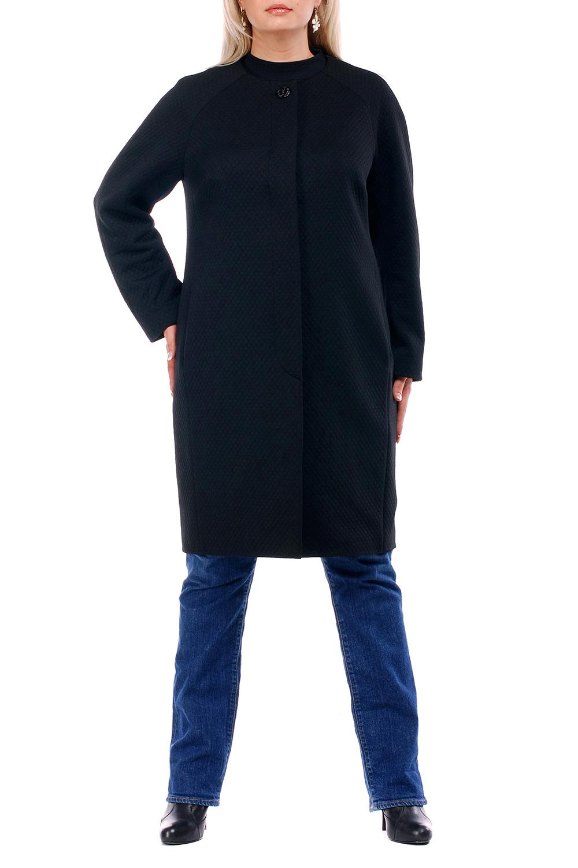 ПальтоПальто<br>Элегантное женское пальто с круглой горловиной и длинными рукавами. Модель со скрытой застежкой, выполнена из качественной пальтовой ткани.  Цвет: синий  Рост девушки-фотомодели 173 см<br><br>По образу: Город<br>По стилю: Офисный стиль,Повседневный стиль<br>По материалу: Пальтовая ткань,Тканевые<br>По рисунку: Однотонные<br>По сезону: Весна,Осень<br>По силуэту: Свободные<br>По элементам: С декором<br>По длине: Ниже колена<br>Рукав: Длинный рукав<br>Горловина: С- горловина<br>Размер: 52,54,56,58,60,62,64,66,68,70<br>Материал: 95% полиэстер 5% эластан<br>Количество в наличии: 3
