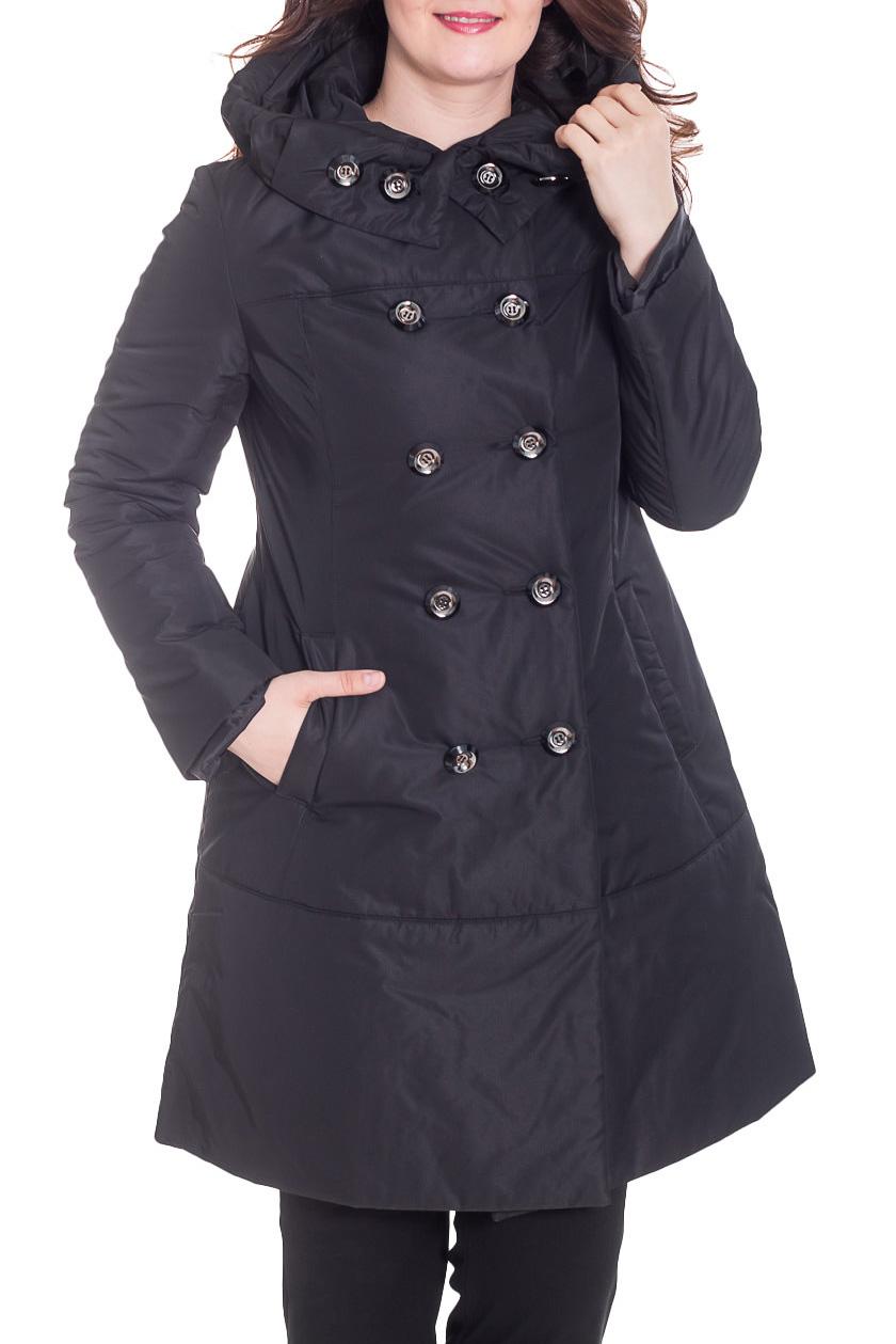 КурткаКуртки<br>Женская куртка с капюшоном и застежкой на пуговицы. Модель выполнена из плотной болоньи. Ростовка изделия 170 см.  Цвет: черный  Рост девушки-фотомодели 180 см<br><br>Застежка: С пуговицами<br>По длине: Удлиненные<br>По материалу: Плащевая ткань<br>По рисунку: Однотонные<br>По силуэту: Полуприталенные<br>По стилю: Повседневный стиль<br>По элементам: С капюшоном,С карманами<br>Рукав: Длинный рукав<br>По сезону: Осень,Весна<br>Размер : 46,48<br>Материал: Болонья<br>Количество в наличии: 2