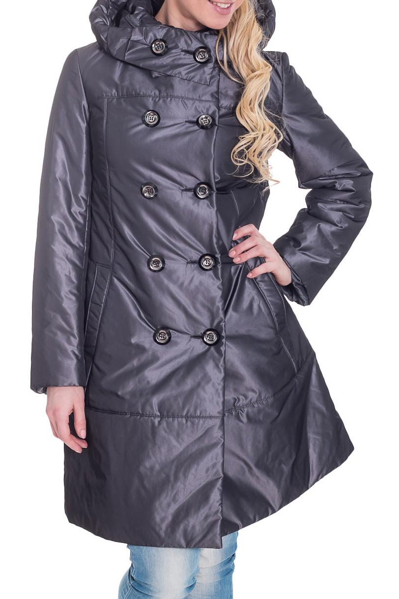 КурткаКуртки<br>Женская куртка с капюшоном и застежкой на пуговицы. Модель выполнена из плотной болоньи. Ростовка изделия 164 см.  Цвет: стальной  Рост девушки-фотомодели 170 см<br><br>Застежка: С пуговицами<br>По длине: Удлиненные<br>По материалу: Плащевая ткань<br>По рисунку: Однотонные<br>По силуэту: Полуприталенные<br>По стилю: Повседневный стиль<br>По элементам: С капюшоном,С карманами<br>Рукав: Длинный рукав<br>По сезону: Осень,Весна<br>Размер : 46<br>Материал: Болонья<br>Количество в наличии: 1