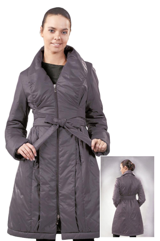 ПальтоПальто<br>Шикарное женское пальто - куртка из непродуваемого материала. Длинные рукава. Оригинальный дизайн украсит Ваш силуэт. Наполнитель - холлофайбер.  Температурный режим до 0°C  Цвет: серая слива.  Ростовка изделия - 170 см Длина по спинке - 98 ± 2 см  Уход: не замачивать, бережная стирка, не отжимать, утюжить с изнаночной стороны.<br><br>По образу: Город<br>По стилю: Классический стиль,Кэжуал,Повседневный стиль<br>По рисунку: Однотонные<br>По сезону: Весна,Осень<br>По силуэту: Полуприталенные<br>По элементам: С отделочной фурнитурой,С воротником,С подкладом,С декором,Со складками,С карманами,С манжетами<br>По длине: До колена<br>Воротник: Фантазийный<br>Рукав: Длинный рукав<br>Горловина: V- горловина<br>Застежка: С молнией<br>Размер: 42,44,46,48,50<br>Материал: 100% полиэстер<br>Количество в наличии: 8