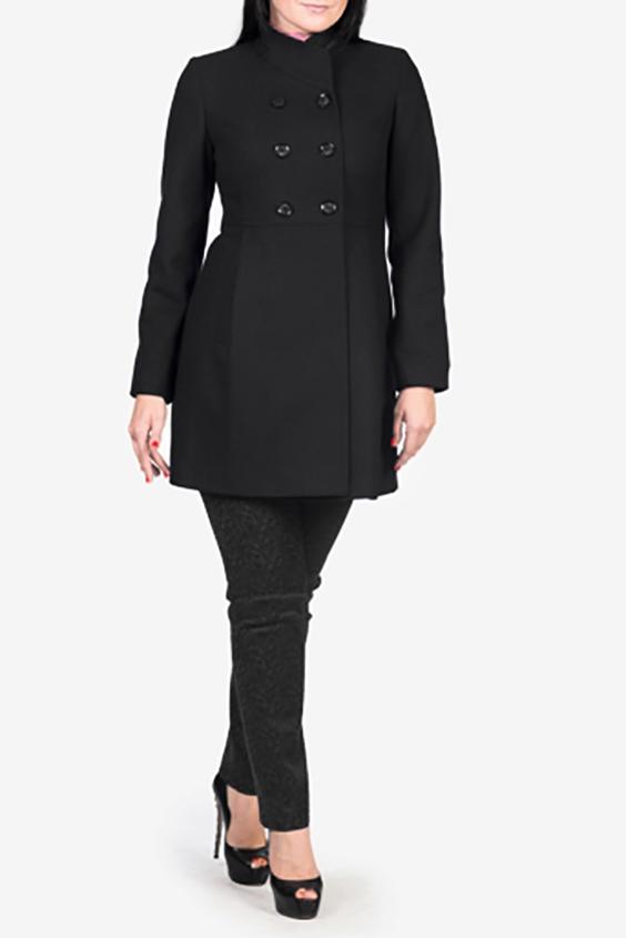 ПальтоПальто<br>Красивое женское пальто приталенного силуэта. Модель выполнена из плотного материала. Отличный вариант для демисезонного гардероба.  Цвет: черный  Рост девушки-фотомодели 170 см<br><br>Воротник: Стойка<br>По материалу: Шерсть<br>По образу: Город<br>По рисунку: Однотонные<br>По сезону: Весна,Осень<br>По элементам: С декором,С карманами<br>Рукав: Длинный рукав<br>По стилю: Повседневный стиль<br>Застежка: С пуговицами<br>Размер : 48<br>Материал: Пальтовая ткань<br>Количество в наличии: 1