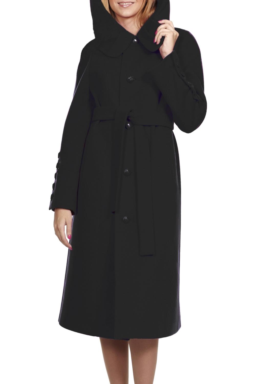 ПальтоПальто<br>Элегантное пальто с капюшоном полуприлегающего силуэта. На переде и спинке обработаны вертикальные рельефы. Спинка со шлицей. Отворот капюшона декорирован складками. Рукав втачной со шлицей на пуговицах. Пальто без пояса.  Цвет: черный  Ростовка изделия 170 см.<br><br>Застежка: С пуговицами<br>По длине: Ниже колена<br>По материалу: Пальтовая ткань,Шерсть<br>По рисунку: Однотонные<br>По силуэту: Полуприталенные<br>По стилю: Классический стиль,Офисный стиль,Повседневный стиль<br>По элементам: С капюшоном,С карманами<br>Рукав: Длинный рукав<br>По сезону: Осень,Весна<br>Размер : 44,46,48,52<br>Материал: Пальтовая ткань<br>Количество в наличии: 4