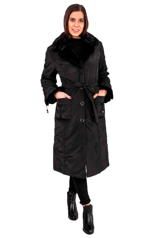 Пальто пальто из меха норки с отделкой мехом енота
