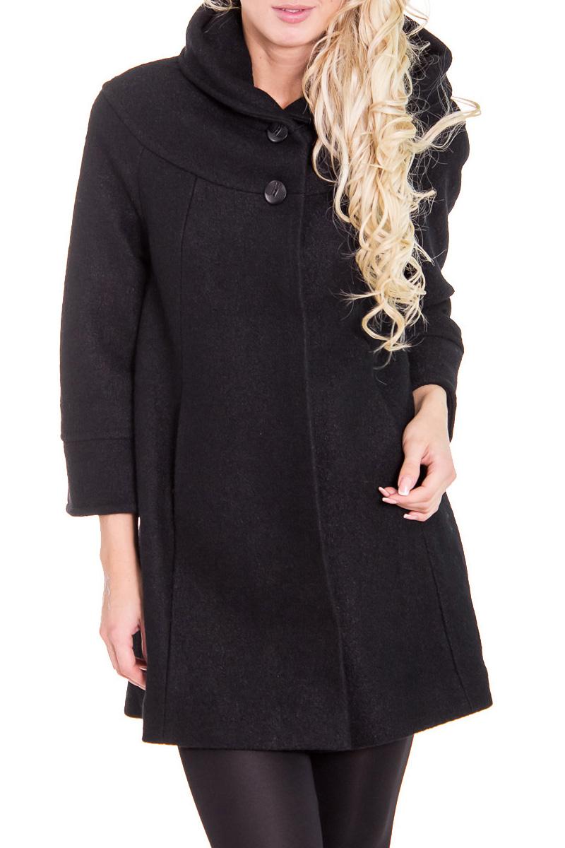 ПальтоПальто<br>Классическое женское пальто с рукавами 3/4.  Цвет: черный.  Рост девушки-фотомодели 170 см<br><br>Воротник: Стойка<br>По материалу: Шерсть<br>По рисунку: Однотонные<br>По сезону: Весна,Осень<br>По силуэту: Свободные<br>По стилю: Кэжуал,Повседневный стиль<br>По элементам: С воротником,С декором,С капюшоном,С карманами,С манжетами<br>Застежка: С пуговицами<br>Рукав: Рукав три четверти<br>Размер : 44,48<br>Материал: Пальтовая ткань<br>Количество в наличии: 2