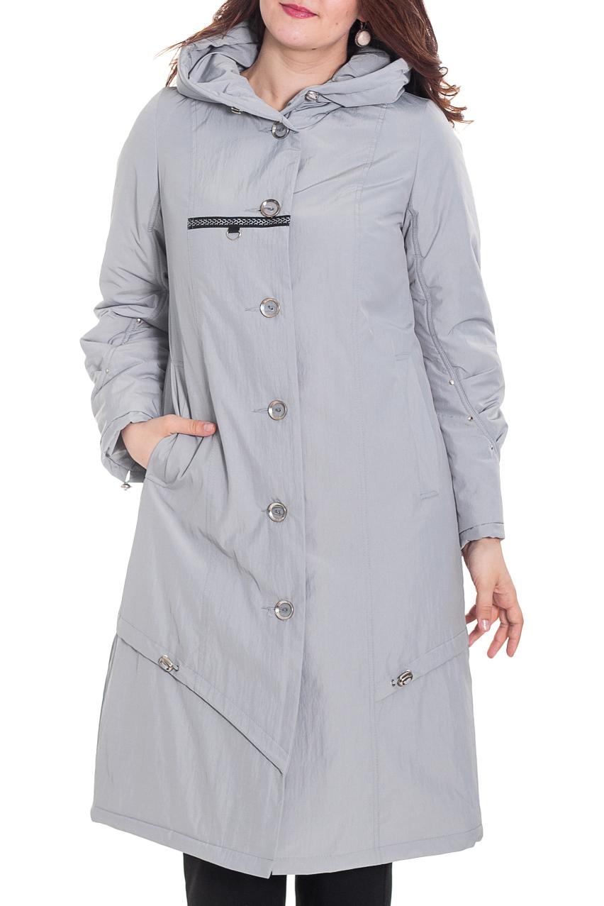 Куртка - пальтоКуртки<br>Женская куртка - пальто прямого силуэта с застежкой на пуговицы. Капюшон. Множество отделочной фурнитуры. Длинный рукав.  Цвет: серый.  Рост девушки-фотомодели 180 см<br><br>Застежка: С пуговицами<br>По длине: Удлиненные<br>По материалу: Плащевая ткань<br>По рисунку: Однотонные<br>По силуэту: Прямые<br>По стилю: Классический стиль,Повседневный стиль<br>По элементам: С декором,С капюшоном,С карманами,С отделочной фурнитурой,С подкладом,Со складками<br>Рукав: Длинный рукав<br>По сезону: Осень,Весна<br>Размер : 52,56,58,60,68,80<br>Материал: Болонья<br>Количество в наличии: 6