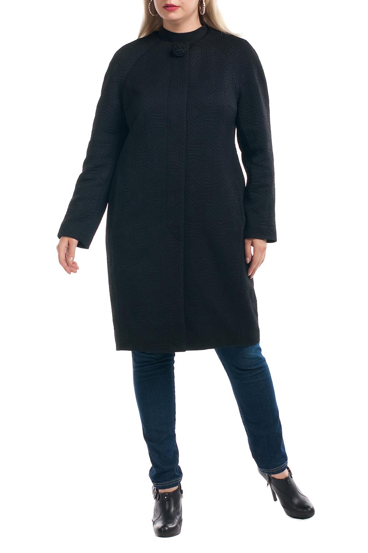 ПальтоПальто<br>Лаконичное пальто с длинными рукавами и застежкой на пуговицы. Модель выполнена из плотного трикотажа с фактурой. Отличный выбор для повседневного и делового гардероба.  Цвет: черный  Рост девушки-фотомодели 173 см.<br><br>Горловина: С- горловина<br>Застежка: С пуговицами<br>По длине: До колена<br>По материалу: Трикотаж<br>По рисунку: Однотонные<br>По силуэту: Прямые<br>По стилю: Классический стиль,Офисный стиль,Повседневный стиль<br>По элементам: С карманами<br>Рукав: Длинный рукав<br>По сезону: Осень,Весна<br>Размер : 56<br>Материал: Трикотаж<br>Количество в наличии: 1