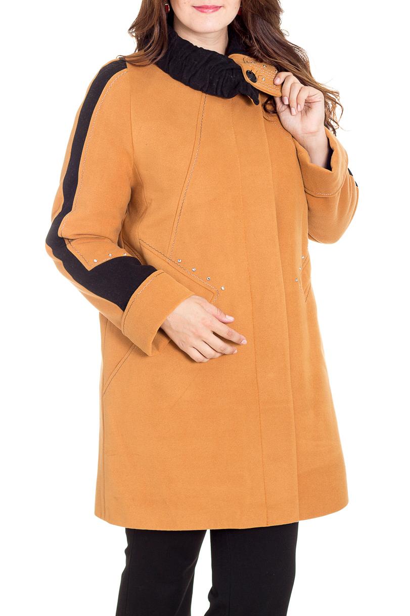 ПальтоПальто<br>Демисезонные женские пальто – это отличный выбор для весны и осени. Теплые и уютные изделия создадут невероятно стильный, утонченный и женственный образ.  Пальто с длинными рукавами и воротником.  В изделии использованы цвета: черный, горчичный.  Рост девушки-фотомодели 180 см<br><br>Воротник: Фантазийный<br>По длине: До колена<br>По материалу: Пальтовая ткань,Шерсть<br>По образу: Город<br>По рисунку: Однотонные<br>По сезону: Зима,Осень,Весна<br>По силуэту: Полуприталенные,Прямые<br>По стилю: Классический стиль,Кэжуал,Офисный стиль,Повседневный стиль<br>По элементам: С воротником,С декором,С манжетами,С отделочной фурнитурой<br>Рукав: Длинный рукав<br>Размер : 50,52,54,56,58<br>Материал: Пальтовая ткань<br>Количество в наличии: 5