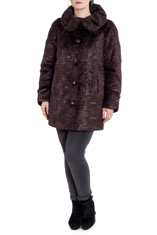 ПолушубокШубы<br>Роскошный полушубок из искусственного меха. Модель с застежкой на пуговицы, карманами и объемным воротником. Отличный выбор для праздничного выхода.  Подклад - 100% полиэстер, утеплитель 100% полиэстер quot;VALTHERMquot;.  Цвет: коричневый  Рост девушки-фотомодели 180 см<br><br>Воротник: Отложной<br>Застежка: С пуговицами<br>По материалу: Искусственный мех<br>По рисунку: Однотонные<br>По силуэту: Прямые<br>По стилю: Повседневный стиль<br>По элементам: С карманами,С патами<br>Рукав: Длинный рукав<br>По сезону: Зима<br>По длине: До колена<br>Размер : 56,58,60,62,64<br>Материал: Искусственный мех<br>Количество в наличии: 5